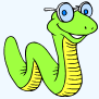 Cartoon of worm wearing glasses.